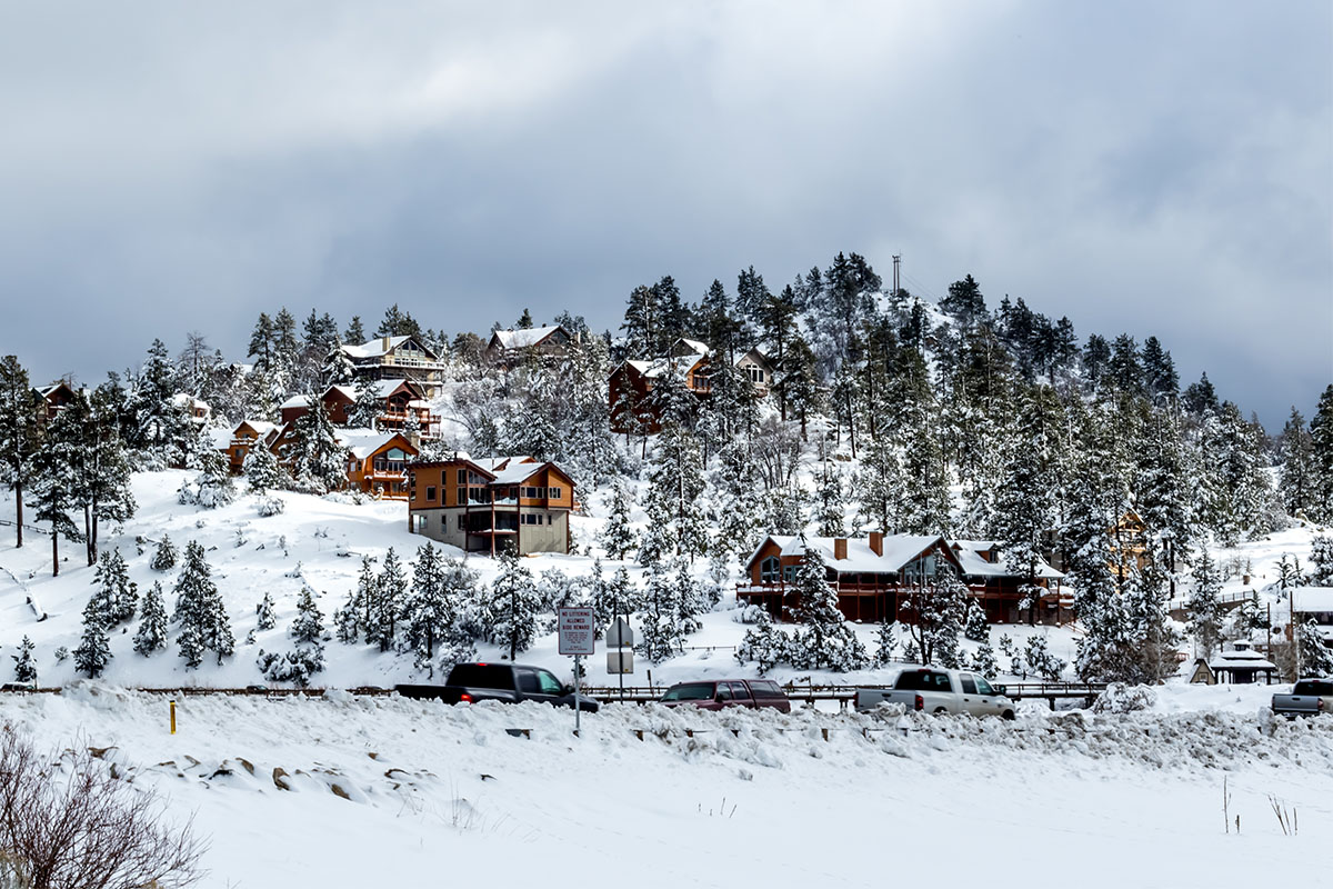 House with snow in Big Bear Lake California