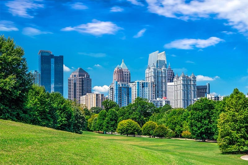 Some of Atlanta's skyline as seen from a park area