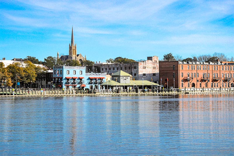 Buildings along the shoreline of Cape Fear in Wilmington, North Carolina