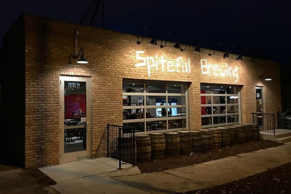 Outside of Spiteful Brewing at night.