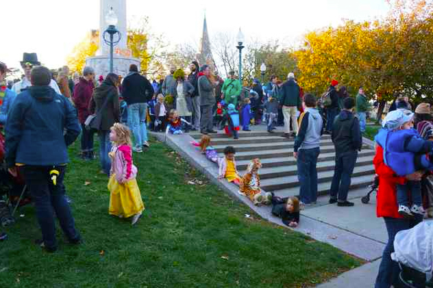 Chicago locals dressed up for Halloween at Illinois Centennial Monument in Logan Square.