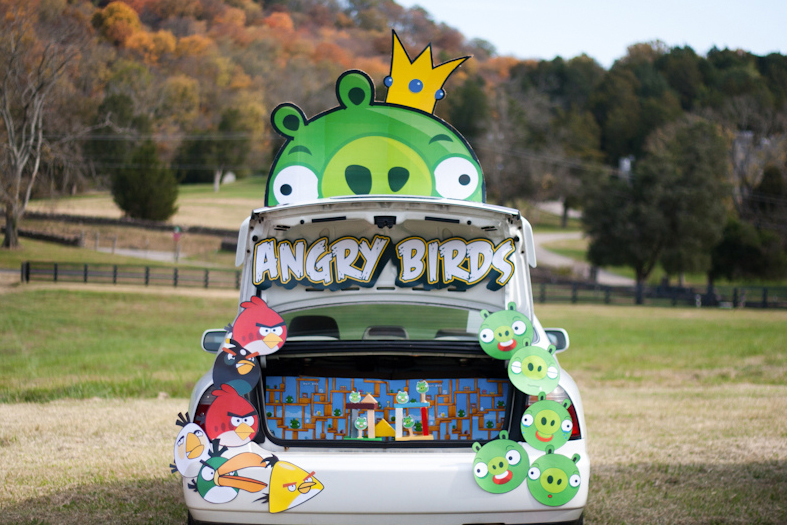 Inside of a trunk decorated for Halloween with the theme of Angry Birds, for Trunk or Treat..