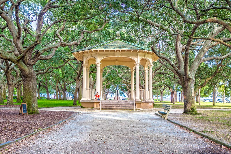 A gazebo in White Point Garden in Charleston South Carolina