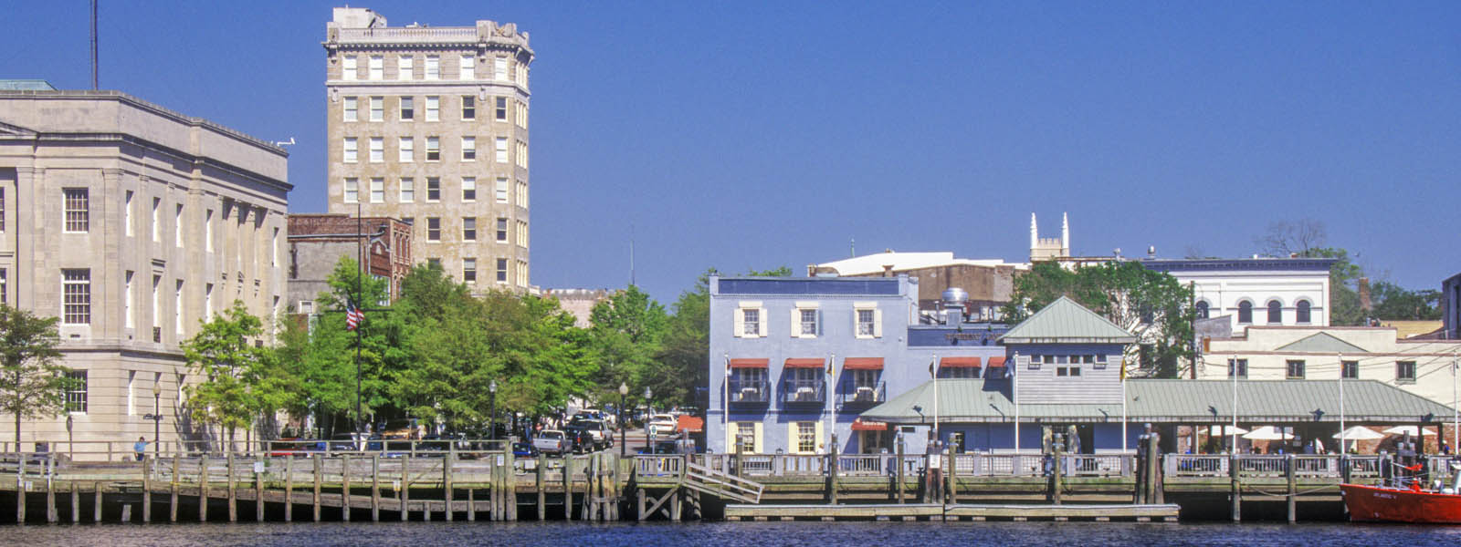 Buildings on the shoreline of Cape Fear in Wilmington, North Carolina